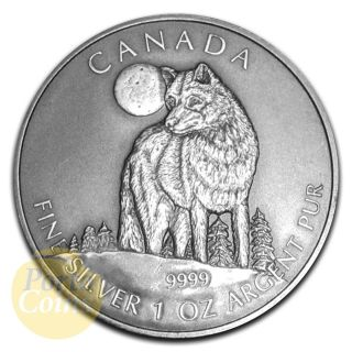 2011 1oz $5 Canadian Wildlife Series Silver Timber Wolf Antique Finish Coin photo