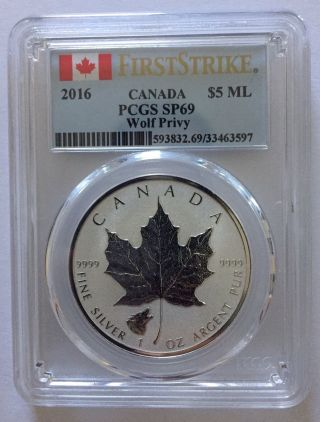2016 Wolf Privy Canadian Silver Maple Leaf Reverse Proof Coin Pcgs Sp69 Fs photo