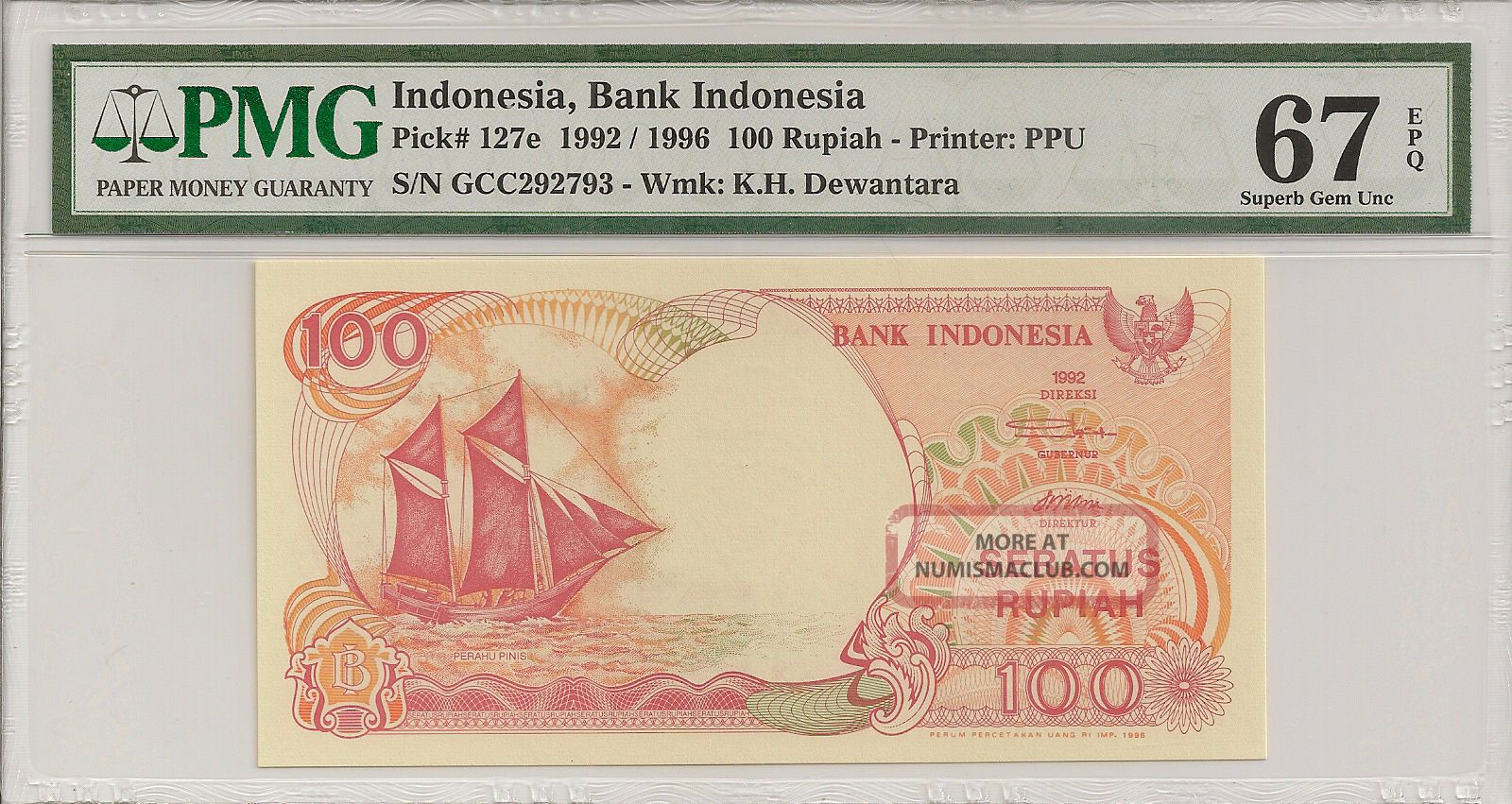 P - 127e 1992/1996 100 Rupiah,  Bank Of Indonesia,  Pmg 67epq Finest Known Asia photo