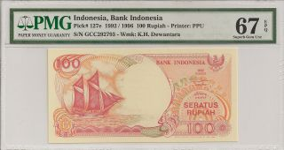 P - 127e 1992/1996 100 Rupiah,  Bank Of Indonesia,  Pmg 67epq Finest Known photo