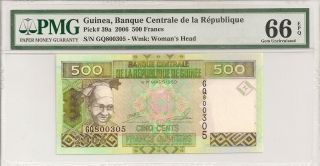 P - 39a 2006 500 Francs,  Guinea,  Banque Centrale De La Republique,  Pmg 66epq photo