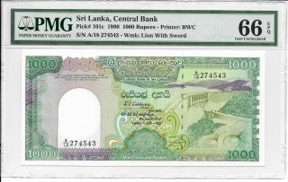 Sri Lanka,  Central Bank - 1000 Rupees,  1990.  Pmg 66epq.  Rare In. photo