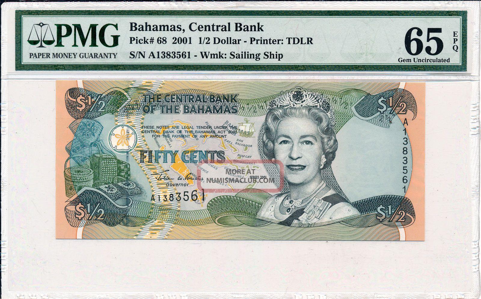 Central Bank Bahamas 1/2 Dollar 2001 Pmg 65epq North & Central America photo