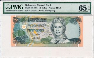 Central Bank Bahamas 1/2 Dollar 2001 Pmg 65epq photo