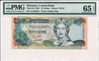 Central Bank Bahamas 1 2 Dollar 2001 Pmg 65epq Photo