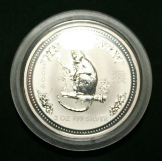 Australia 2004 Year Of Monkey 2 Dollars 2oz Silver Coin,  Bu photo