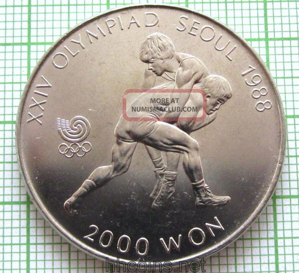 South Korea 1987 2000 Won,  Seoul Olympics - Wrestling,  Unc Middle East photo