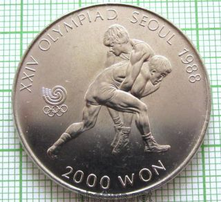 South Korea 1987 2000 Won,  Seoul Olympics - Wrestling,  Unc photo