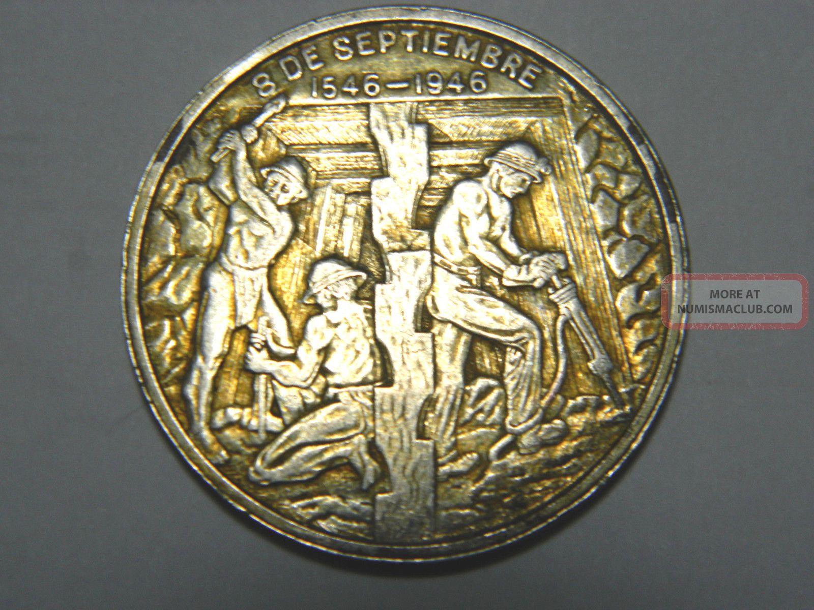 Scarce,  Mexico,  Zacatecas,  1946.  400th Anniversary Silver Medal,  37mm.  Toned Exonumia photo