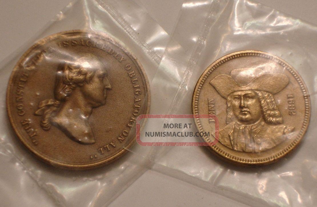 1682 Penn & Constitution Sacred Washington Bronze Medallions Gem U S Exonumia photo