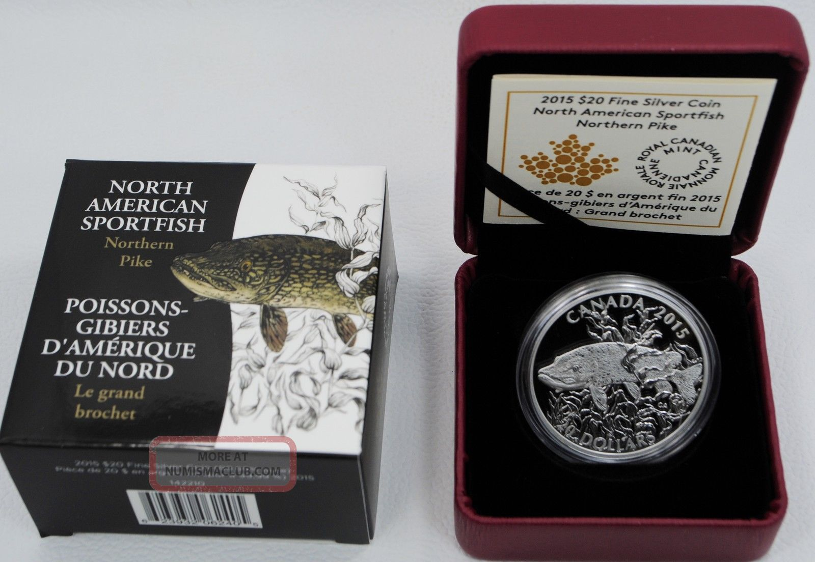 2015 Canada Silver Sportfish Northern Pike 1oz $20 Proof Coin & Coins: Canada photo