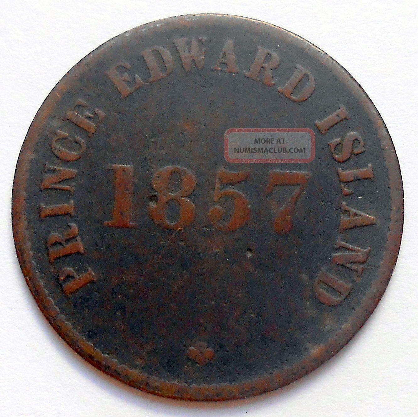 1857 Prince Edward Island Self Government Token Vg Pe - 7c5 Scarce Variety Coin Coins: Canada photo