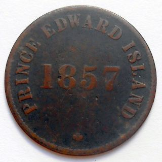 1857 Prince Edward Island Self Government Token Vg Pe - 7c5 Scarce Variety Coin photo