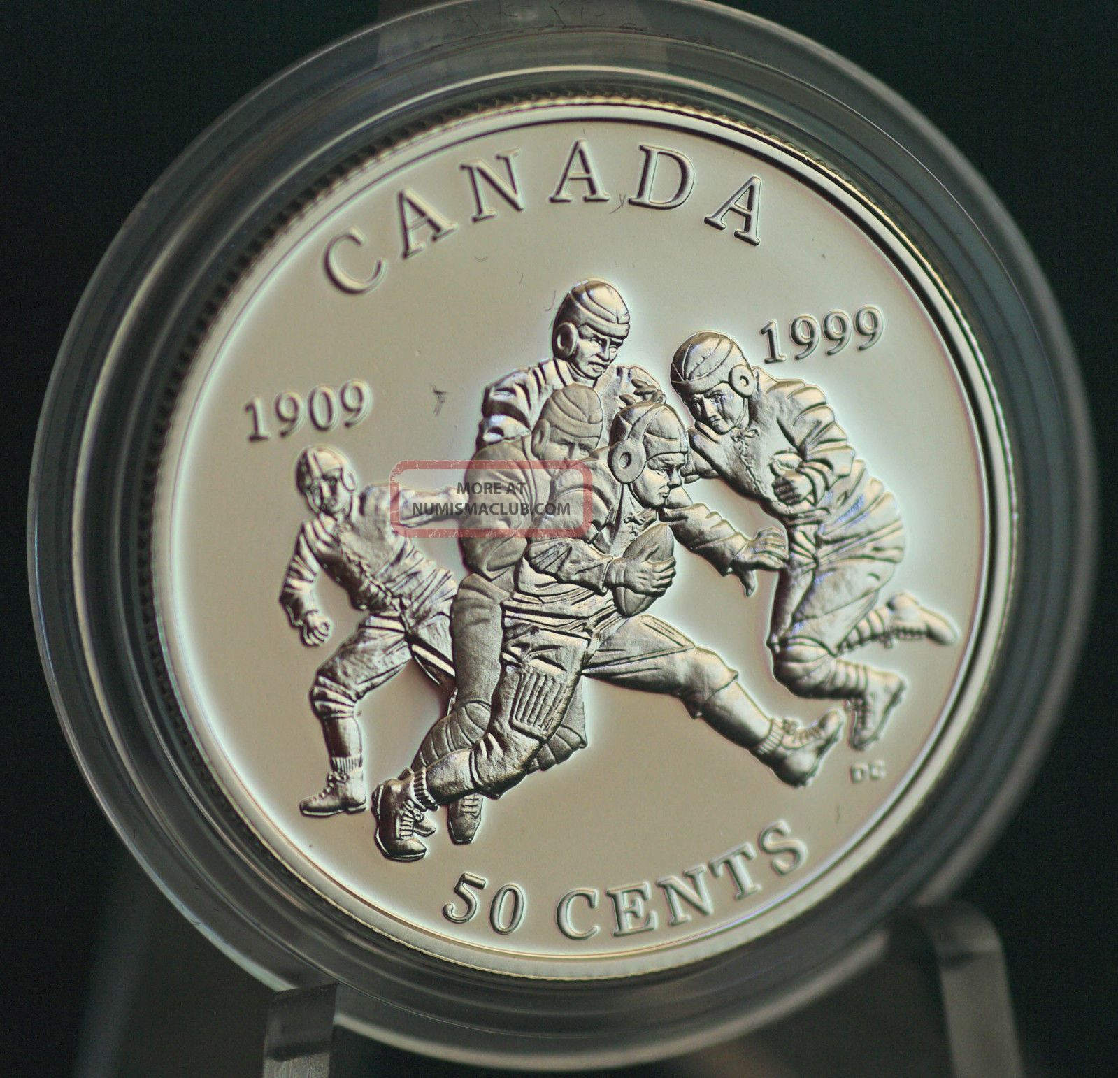 1999 Canada Football - Grey Cup Proof 50 Cent Coin In Metal Case Coins: Canada photo
