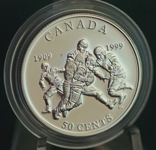 1999 Canada Football - Grey Cup Proof 50 Cent Coin In Metal Case photo