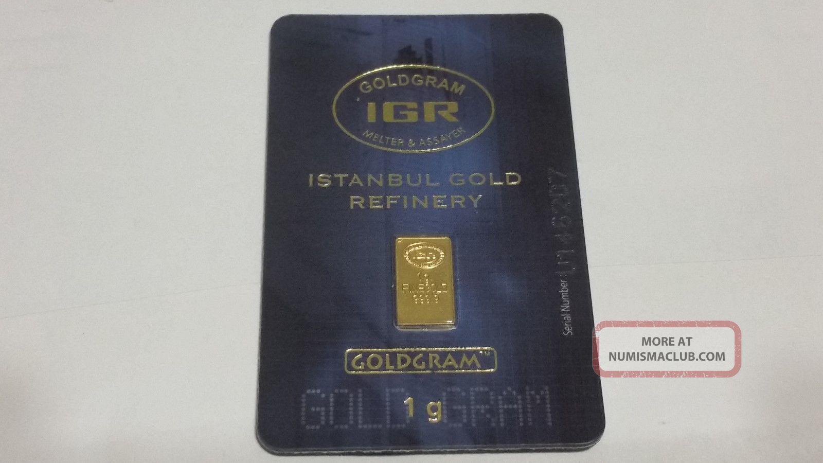 1 Gram 999.  9 24k Gold Bar In Assay - Igr Istanbul Refinery.  9999 Bullion Bars & Rounds photo