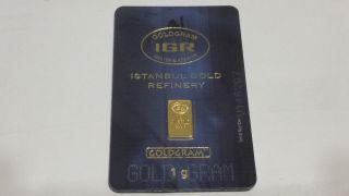 1 Gram 999.  9 24k Gold Bar In Assay - Igr Istanbul Refinery.  9999 Bullion photo