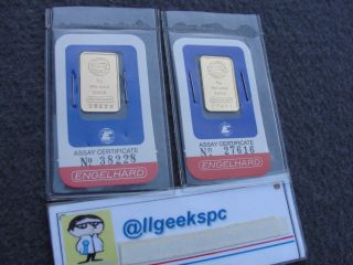 5 Gram Engelhard.  999 Fine Gold Vintage Bar Classic Red/blue photo