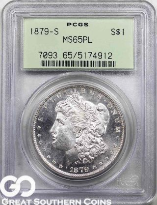 1879 - S Morgan Silver Dollar,  Proof - Like,  Pcgs Ms 65 Pl Old Green Holder photo