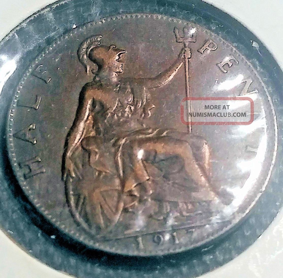 Uk (great Britain) 1917 1/2 Penny Bronze,  Ruler: George V Half Penny photo