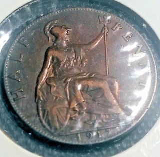 Uk (great Britain) 1917 1/2 Penny Bronze,  Ruler: George V photo