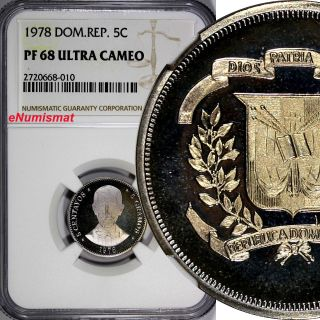 Dominican Republic Proof 1978 5 Centavos Ngc Pf68 Ultra Cameo Top Graded Km 49 photo