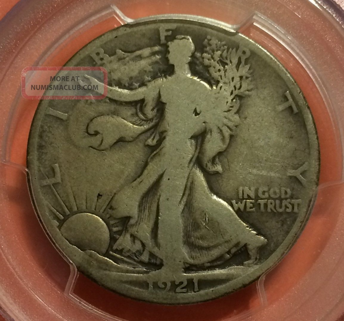 1921 - D Walking Liberty Half Dollar,  Pcgs G06,  The Key Date,  Quite Scarce Liberty Walking (1916-47) photo