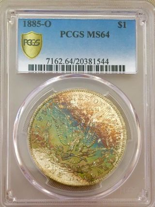 1885 O Morgan Pcgs Ms64 Absolutely A Gorgeous Coin Monster Toned Reverse Wow photo