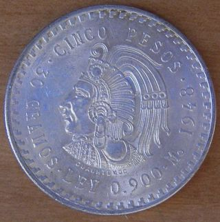 Cuauhtemoc Cinco Pesos 1948.  900 Silver Coin photo