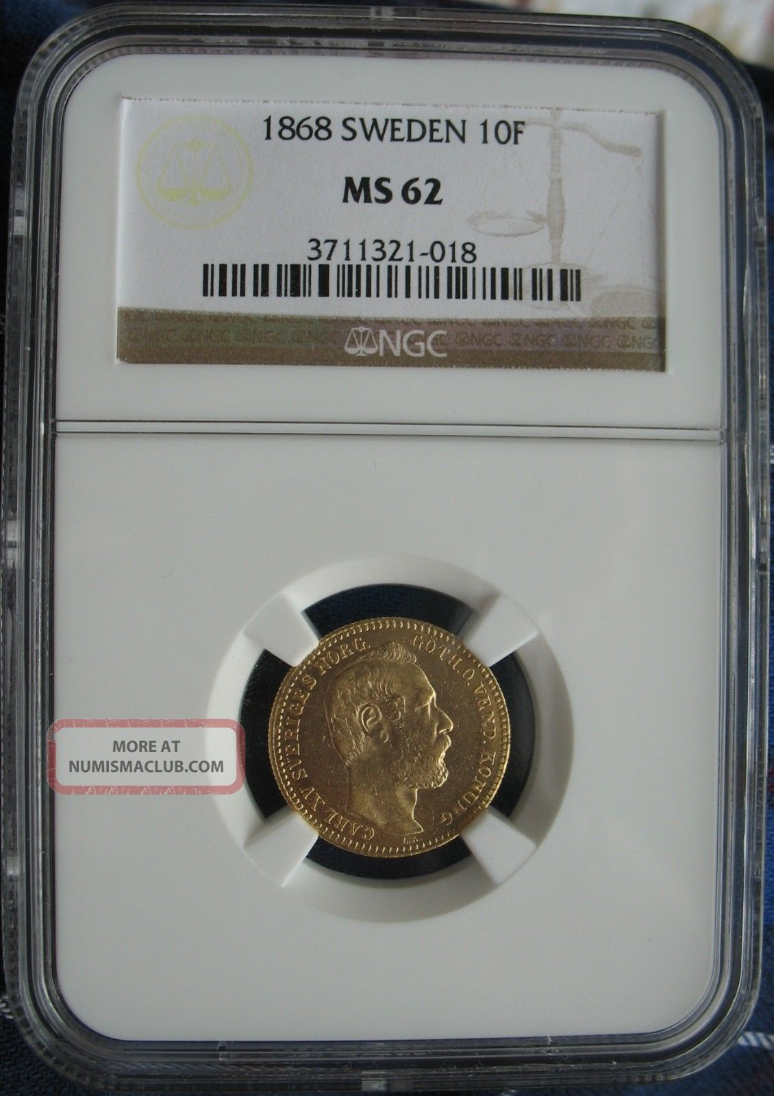 1868 Sweden Gold 10 Francs (carolin) Ngc Ms - 62 Europe photo