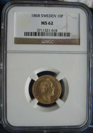1868 Sweden Gold 10 Francs (carolin) Ngc Ms - 62 photo