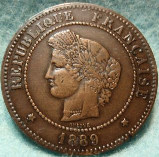 France 1889 A 5 Centimes Details Paris 25mm Bronze photo