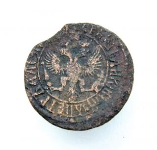 Russia Empire Peter I Denga Copper Coin (1682 - 1725) photo