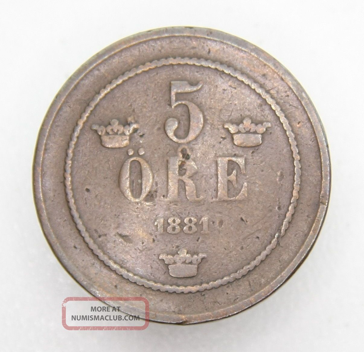 Sweden 5 Ore 1881 Bronze Coin Sweden photo