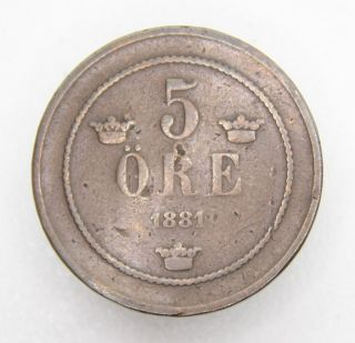 Sweden 5 Ore 1881 Bronze Coin photo