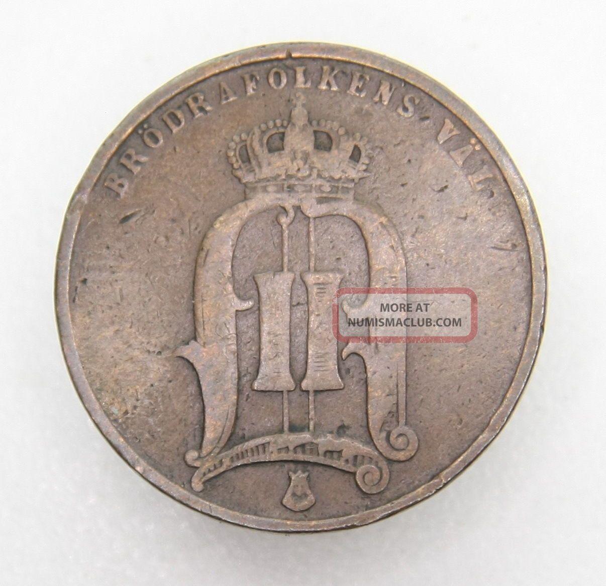 Sweden 5 Ore 1881 Bronze Coin