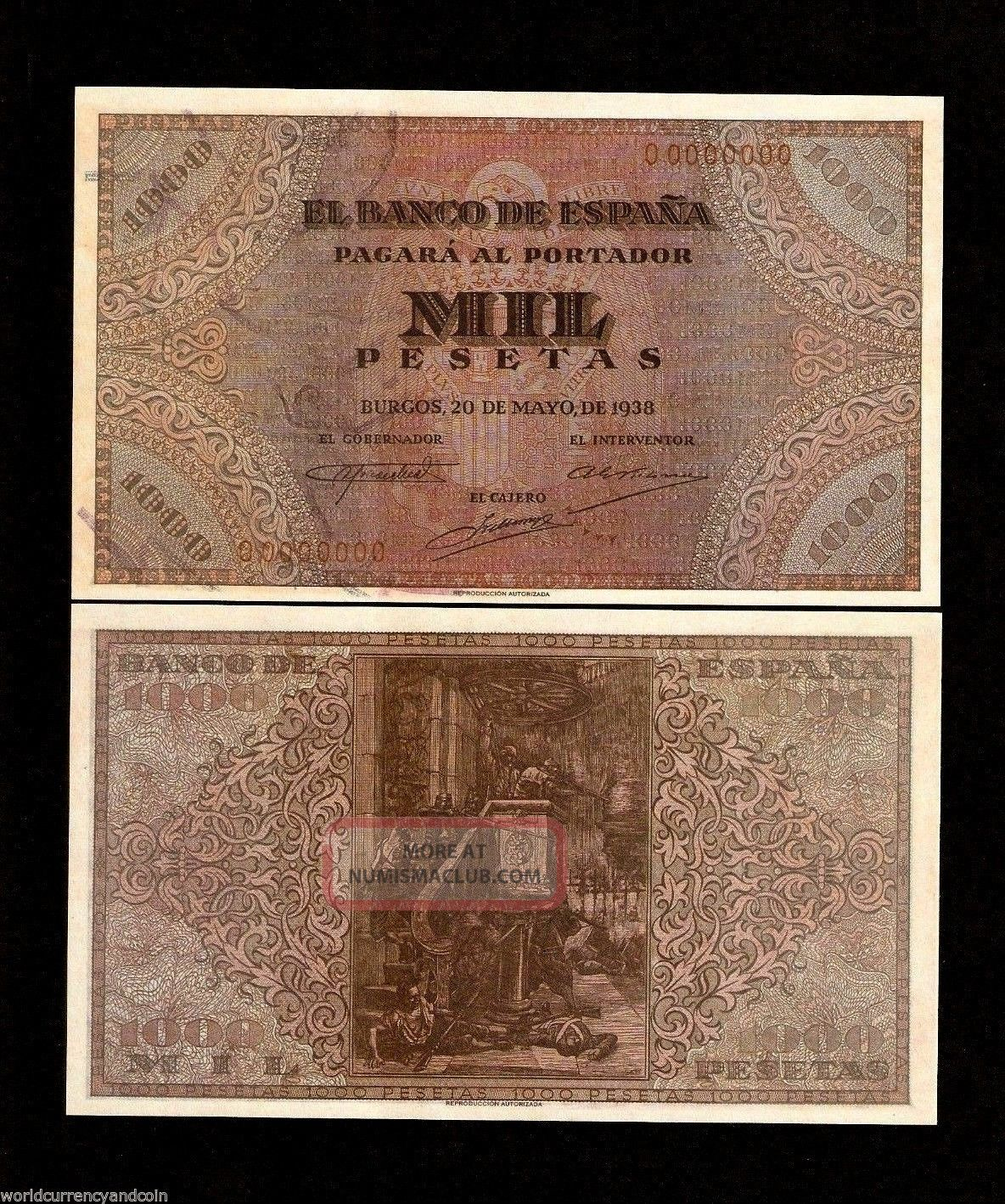 Spain 1000 Pesetas 1938 El Banco De Espana Specimen Replica Currency Money Bill Europe photo