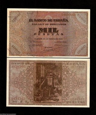 Spain 1000 Pesetas 1938 El Banco De Espana Specimen Replica Currency Money Bill photo