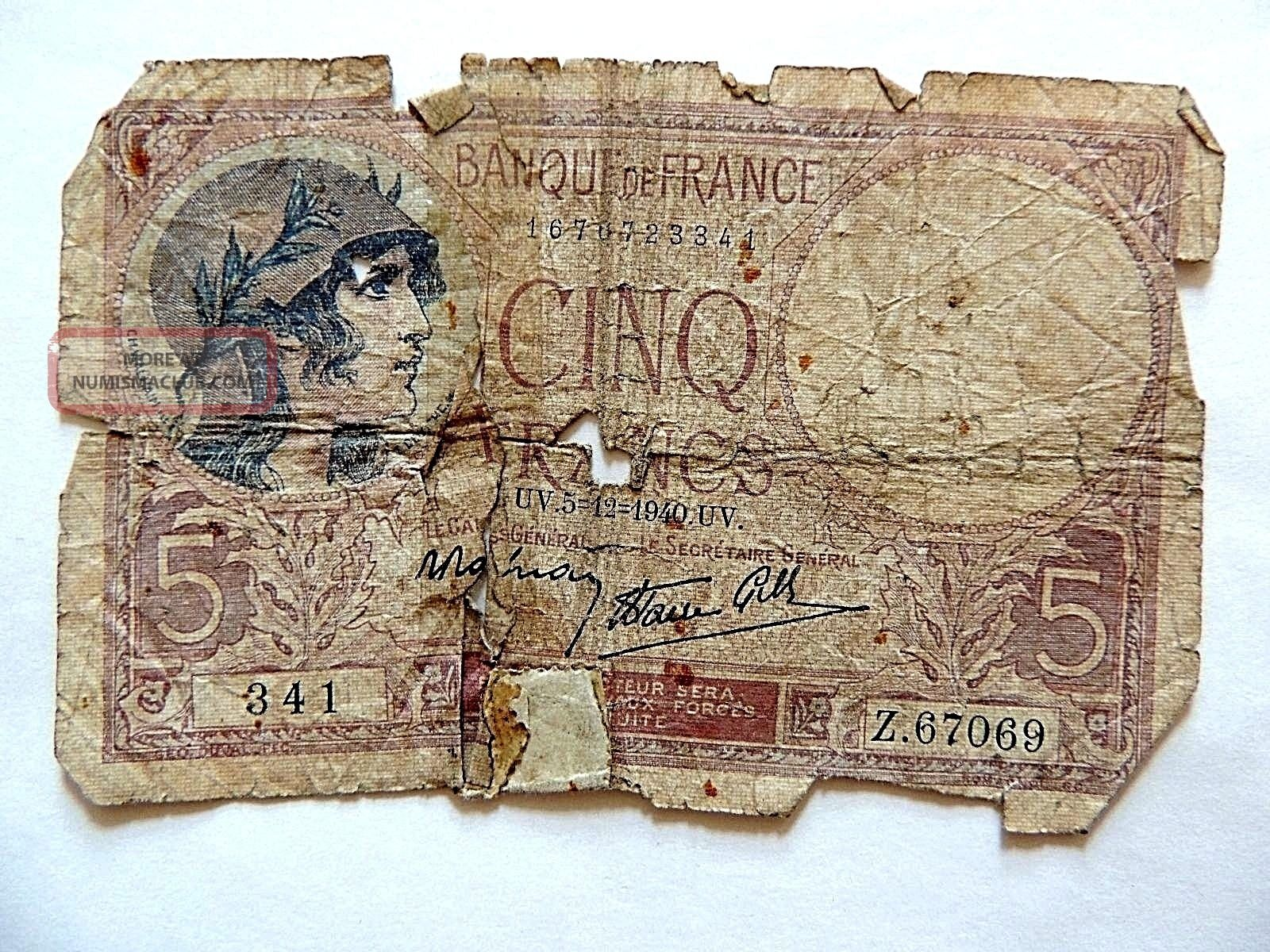 1940 French Five (5) Francs Wwii Note Europe photo