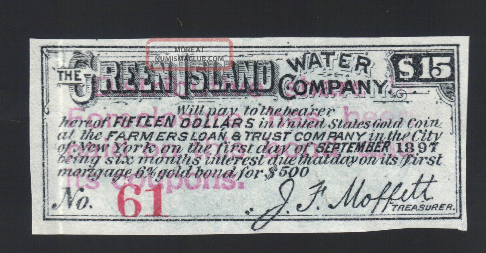 $15 1897 Green Island Water Co Certificate $500 Gold Bond Coupon Moffett Note Stocks & Bonds, Scripophily photo