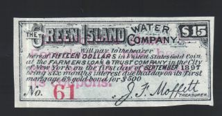 $15 1897 Green Island Water Co Certificate $500 Gold Bond Coupon Moffett Note photo