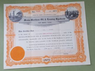 Mexia - Wortham Oil & Leasing Syndicate Certificate.  Fort Worth,  Texas Jan 1923 photo