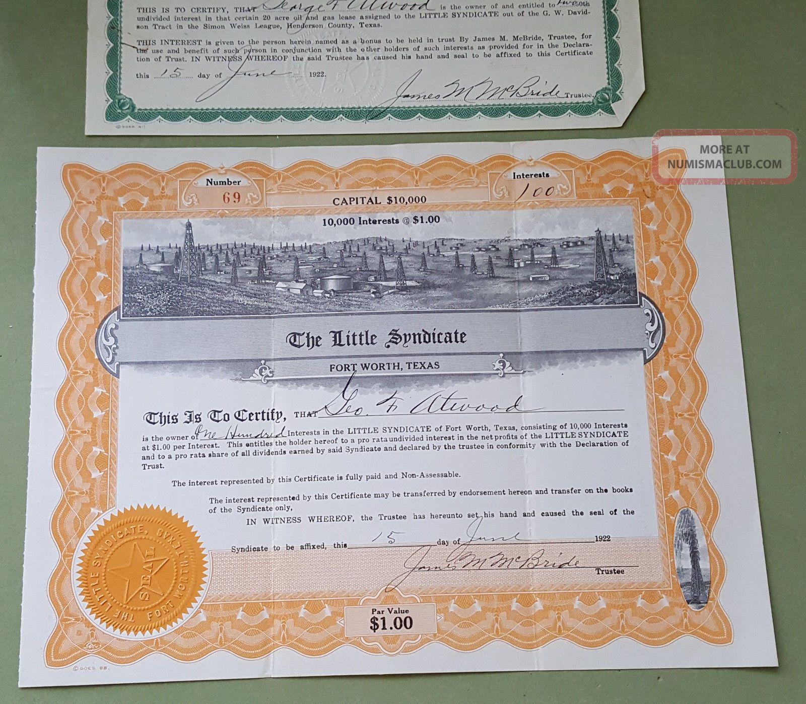 The Little Syndicate - Stock Interest Certificate - Fort Worth,  Tx 1922 W/bonus Stocks & Bonds, Scripophily photo