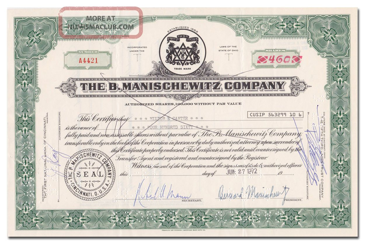 The B.  Manischewitz Company Stock Certificate (matzo And Kosher Wine Maker) Stocks & Bonds, Scripophily photo