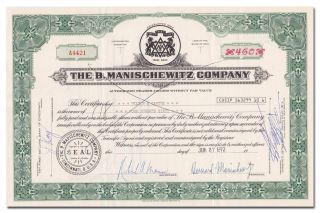 The B.  Manischewitz Company Stock Certificate (matzo And Kosher Wine Maker) photo
