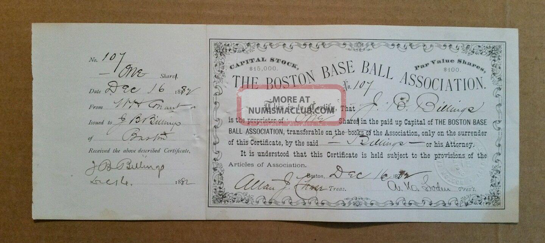 The Boston Baseball Assn.  (red Caps/beaneaters) Stock Certificate,  Dec.  16,  1882 Stocks & Bonds, Scripophily photo