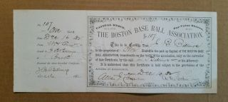 The Boston Baseball Assn.  (red Caps/beaneaters) Stock Certificate,  Dec.  16,  1882 photo