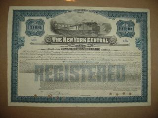$10,  000 York Central Railroad Company Bond Stock Certificate Ny photo