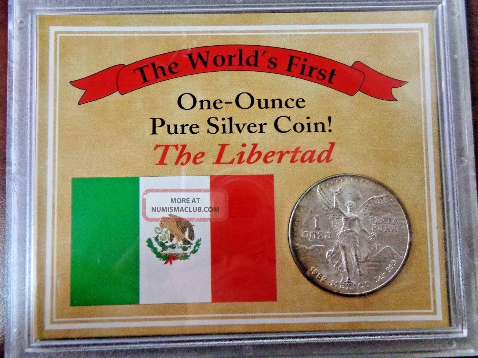 1982 Mexico The World ' S First One Ounce Pure Silver 1 Oz.  999 Fine/ Box Mexico photo