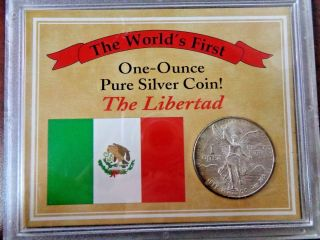 1982 Mexico The World ' S First One Ounce Pure Silver 1 Oz.  999 Fine/ Box photo